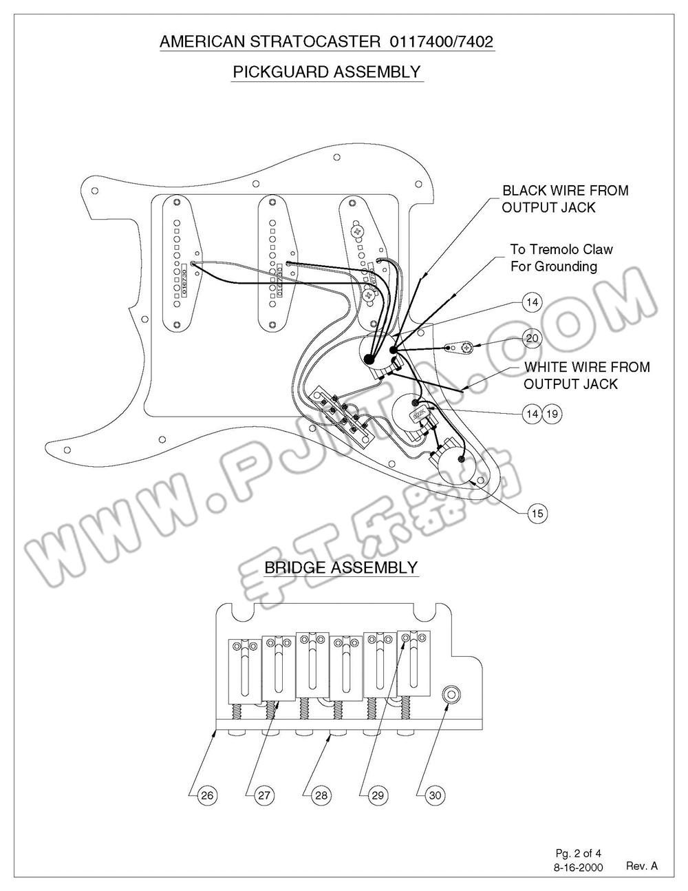 fender usa 011 系列 stratocaster 电路图最全集合之